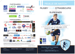 RUGBY CLUB STRASBOURG vs SURESNES FEUILLE DE MATCH
