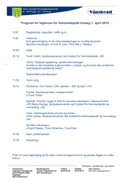 Program for fagforum for fremmedspråk tirsdag 7. april 2015
