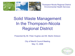 discussing the management of solid waste in the TNRD