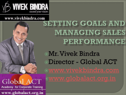 Managing Sales Performance by Setting Goals