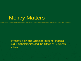 Money Matters - Student Orientation