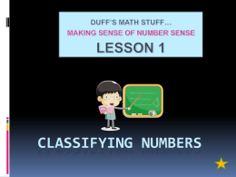 play lesson 1 presentation: classifying numbers
