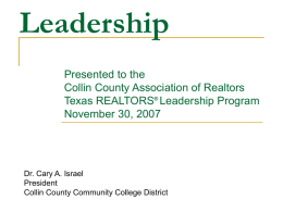 Collin County Assoc of Realtors Tx Ldrship Prgm