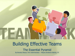 Building Effective Teams The Essential Pyramid By Brenda Olesuk, Firm Administrator – Meyers Brothers Kalicka, PC        Definition of a Team: A group of interacting.