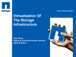 Virtualization Of The Storage Infrastructure  Amir Biran Regional Technical Partner Advisor eMed & Africa   Innovating to Deliver New Choices 2007 De-Duplication  2006 Scalable grid storage 2005 Thin provisioning and.