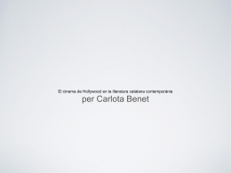 El cinema de Hollywood en la literatura catalana contemporània  per Carlota Benet.