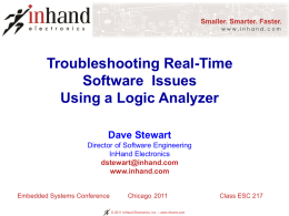 Troubleshooting Real-Time Software Issues Using a Logic Analyzer Dave Stewart Director of Software Engineering InHand Electronics dstewart@inhand.com www.inhand.com  Embedded Systems Conference  Chicago 2011 © 2011 InHand Electronics, Inc.