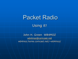 Packet Radio Using it! John H. Green WB4MOZ wb4moz@comcast.net wb4moz.home.comcast.net/~wb4moz/ Packet Radio  – Using IT.    There are several ways to get on Packet today.    RF    Internet.