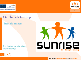 On the job training Train the trainers  By: Mariela van der Meer Wellantcollege.