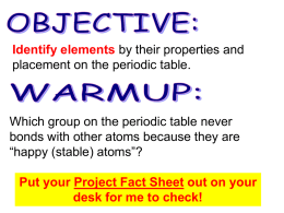 Identify elements by their properties and placement on the periodic table.  Which group on the periodic table never bonds with other atoms because.