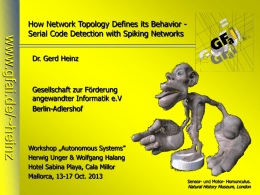 www.gfai.de/~heinz  How Network Topology Defines its Behavior Serial Code Detection with Spiking Networks Dr.