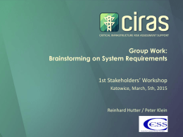 CRITICAL INFRASTRUCTURE RISK ASSESSMENT SUPPORT  Group Work: Brainstorming on System Requirements 1st Stakeholders' Workshop Katowice, March, 5th, 2015  Reinhard Hutter / Peter Klein.