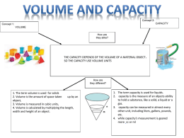 Concept 2: CAPACITY  Concept 1:  VOLUME How are they alike?  THE CAPACITY DEPENDS OF THE VOLUME OF A MATERIAL OBJECT. SO THE CAPACITY USE VOLUME UNITS  How are they.