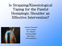 Is Strapping/Kinesiological Taping for the Painful Hemiplegic Shoulder an Effective Intervention? Julianne Genochio April Lovelace Tim Tollefson Christian Butler Ben Flores Chris McSharry   Learning Objectives At the conclusion of this presentation.
