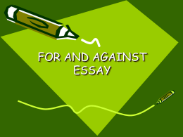 FOR AND AGAINST ESSAY - Escuela Oficial de Idiomas de Langreo