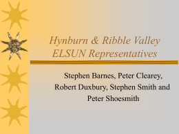 Burnley, Pendle & Rossendale ELSUN Representatives
