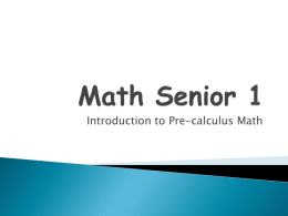 Math Senior 1 - Mrs. CA Swayzie