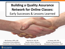 Building a Quality Assurance Network for Online Classes: Early Successes & Lessons Learned  Nik Gorman, MPH, EdD Assessment & Accreditation Coordinator, School of Nursing  Marsha Orr,