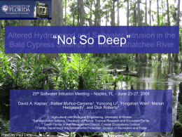 "Altered Hydroperiod and Saltwater Intrusion in the Bald Cypress Swamps of the Loxahatchee River  ""Not So Deep""  20th Saltwater Intrusion Meeting – Naples,"