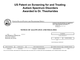 US Patent on Screening for and Treating Autism Spectrum Disorders Awarded to Dr.