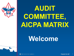 AUDIT COMMITTEE, AICPA MATRIX Welcome Fiduciary Responsibility and Stewardship  • Fiscal Accountability • Legal Responsibility • Regulatory Requirements • Delegated Responsibility.