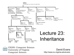 Lecture 23: Inheritance CS200: Computer Science University of Virginia Computer Science  David Evans http://www.cs.virginia.edu/evans Menu • Objects Review • Inheritance • PS6  17 March 2004  CS 200 Spring 2003