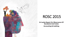 ROSC 2015 Sri Lanka Report On Observance Of Standards And Codes Accounting & Auditing.