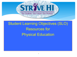 Student Learning Objectives (SLO) Resources for Physical Education Primary Measures of the EES  • Hawaii Growth Model • Student Learning Objectives  Student Teacher Growth and Practice Learning  Educator Effectiveness Data  Improved Student Outcomes.