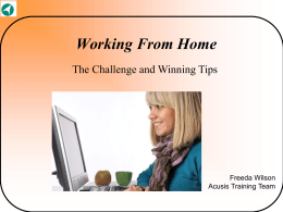 Working From Home The Challenge and Winning Tips  Freeda Wilson Acusis Training Team.
