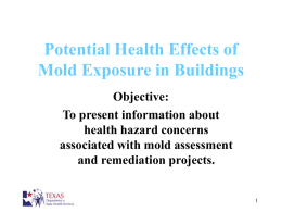Potential Health Effects of Mold Exposure in Buildings Objective: To present information about health hazard concerns associated with mold assessment and remediation projects.