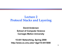 Lecture 2 Protocol Stacks and Layering David Andersen School of Computer Science Carnegie Mellon University  15-441 Networking, Spring 2008 http://www.cs.cmu.edu/~dga/15-441/S08/