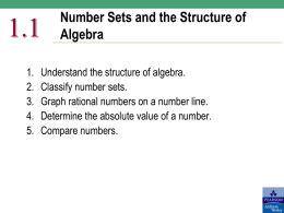 1.1 1. 2. 3. 4. 5.  Number Sets and the Structure of Algebra  Understand the structure of algebra. Classify number sets. Graph rational numbers on a number line. Determine the absolute.