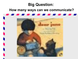 Big Question: How many ways can we communicate? Small Group Timer Review Games Vocabulary & Amazing Words:  Arcade Games  Jigword  Matchword  Speedword  Wordsearch  Word.