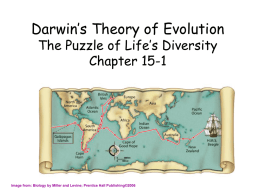 Darwin's Theory of Evolution The Puzzle of Life's Diversity Chapter 15-1  Image from: Biology by Miller and Levine; Prentice Hall Publishing©2006