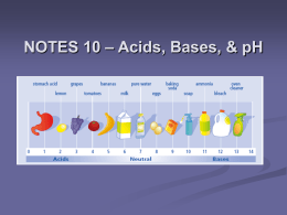 NOTES 10 – Acids, Bases, & pH Ion Review     An ion is an atom that gains or loses electrons giving it an.