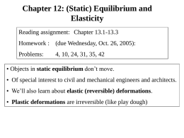 Chapter 12: (Static) Equilibrium and Elasticity Reading assignment: Chapter 13.1-13.3  Homework : (due Wednesday, Oct.