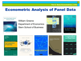 Part 2: Basic Econometrics [ 1/51]  Econometric Analysis of Panel Data William Greene Department of Economics Stern School of Business.