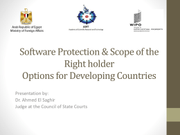 Software Protection & Scope of the Right holder Options for Developing Countries Presentation by: Dr.