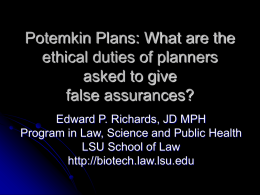 Potemkin Plans: What are the ethical duties of planners asked to give false assurances? Edward P.
