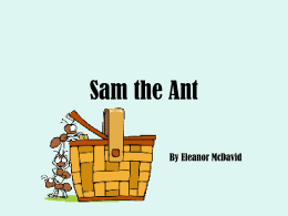 Sam the Ant By Eleanor McDavid I am Sam and I am an ant.
