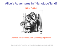"Alice's Adventures in ""Nanotube""land! Nikta Fakhri  Chemical and Biomolecular Engineering Department  Illustration by Sir John Tenniel from Lewis Carroll's Alice's Adventures in Wonderland."