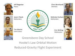 Jeff Regester  Chris Bernhardt  Physics  Chemistry  Jason Cheek  Melinda Graham  Mathematics  Mathematics  Tim Martin Earth Science  Eric Shilling Mathematics  Greensboro Day School Hooke's Law Orbital Motion Reduced-Gravity Flight Experiment.
