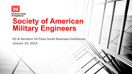 Society of American Military Engineers DC & Northern VA Posts Small Business Conference January 15, 2014