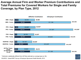 Average Annual Firm and Worker Premium Contributions and Total Premiums for Covered Workers for Single and Family Coverage, by Plan Type, 2012 Worker.