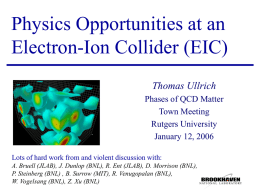 Physics Opportunities at an Electron-Ion Collider (EIC) Thomas Ullrich Phases of QCD Matter Town Meeting Rutgers University January 12, 2006 Lots of hard work from and violent.