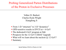 Probing Generalized Parton Distributions of the Proton in Exclusive Processes Volker D.