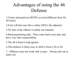 Advantages of using the 46 Defense 1.Center and guard are BOTH covered (different from 44, 50 looks) 2.Extra LB that runs like a safety.