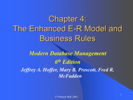 Chapter 4: The Enhanced E-R Model and Business Rules Modern Database Management 6th Edition Jeffrey A.
