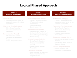 Logical Phased Approach Phase 1 Baseline Assessment Solver Survey – Design & implement simple NP two-question survey with robust segmentation  High Level Results Analysis – Online Results Reporting –