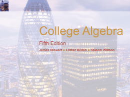 College Algebra Fifth Edition James Stewart  Lothar Redlin    Saleem Watson Equations and Inequalities.